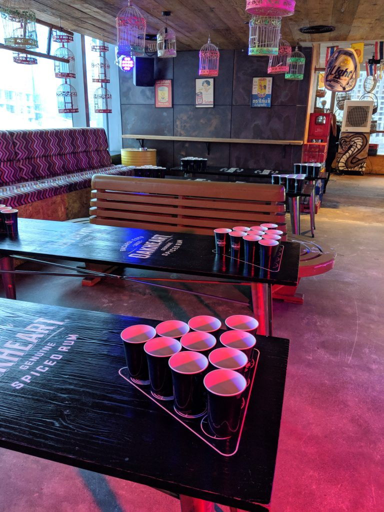 Beer Pong Tables at Mr Miyagi's